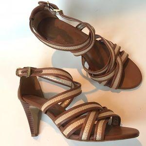 Banana Republic Leather Straw Strappy Heel Sandals